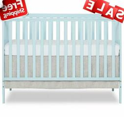 Dream On Me Synergy 5 in 1 Convertible Baby Crib Sky Blue Pi