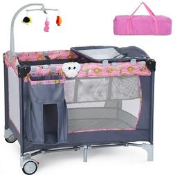 Travel Baby Crib Infant Folding Cot Playpen With Toys Portab