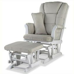 Tuscany Custom Glider and Ottoman, White/Taupe
