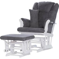 Storkcraft Tuscany Glider and Ottoman with Lumbar Pillow Whi