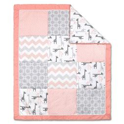 Uptown Girl Giraffe and Geometric Patchwork Baby Crib Quilt
