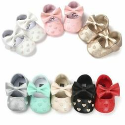 US Newborn Baby Girl Soft Crib Shoes Infants Anti-slip Sneak