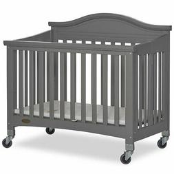 Dream On Me Venice Folding Portable Crib in Storm Gray