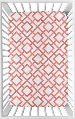 White and Coral Baby Fitted Mini Portable Crib Sheet for Mod