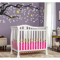 White Mini Baby Crib Convertible Toddler Bed Wood Compact Ma