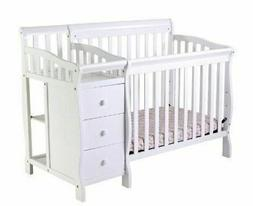 White Mini Size Convertible 4-in-1 Crib Bed Baby Toddler Nur