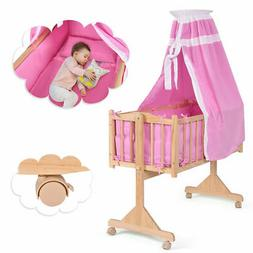 Wood Baby Cradle Rocking Crib Newborn Bassinet Bed Sleeper P