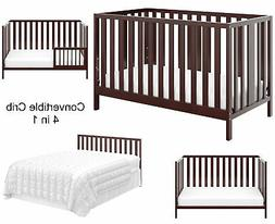 Convertible Crib 4 in 1 Full Size Bed Wood Cradle Toddler Sa